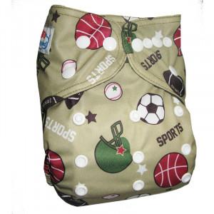 Многоразовые подгузники Babyland со вставочками на ножках MAXI до 3х лет,Футбол