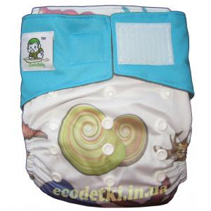 Многоразовые подгузники Coolababy на липучках с двойными резиночками, Ракушки