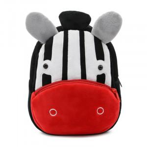 Рюкзачок детский плюшевый с мордочками животных, Зебра