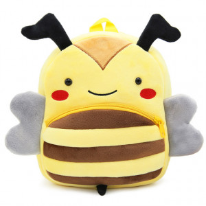 Рюкзачок детский плюшевый с мордочками животных, Пчелка