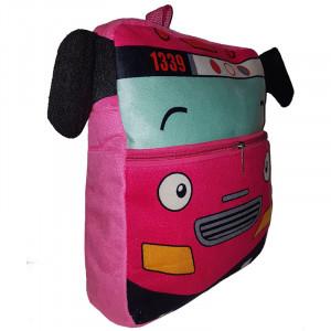 Рюкзачок детский плюшевый, Автобус розовый