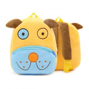Рюкзачок детский плюшевый с мордочками животных, Собака синяя