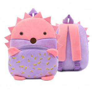 Рюкзачок детский плюшевый с мордочками животных, Ежик