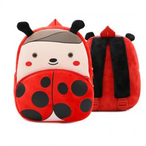 Рюкзачок детский плюшевый с мордочками животных, Божья коровка