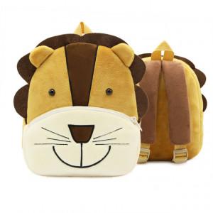 Рюкзачок детский плюшевый с мордочками животных, Лев