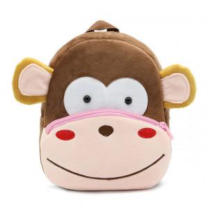 Рюкзачок детский плюшевый с мордочками животных, Обезьяна