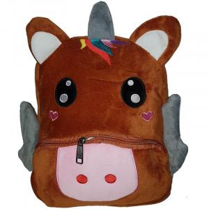 Рюкзачок детский плюшевый с мордочками животных, Единорог коричневый