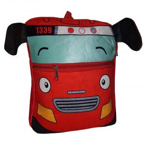 Рюкзачок детский плюшевый, Автобус красный
