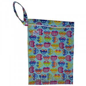 Многоразовые непромокаемые сумочки для мокрого белья, подгузников, Babyland, Машинки на голубом