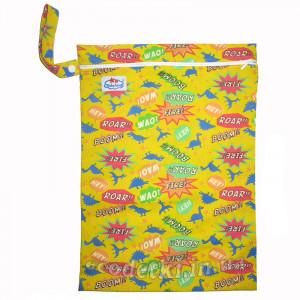 Многоразовые непромокаемые сумочки для мокрого белья, подгузников, Babyland, Динозавры на желтом